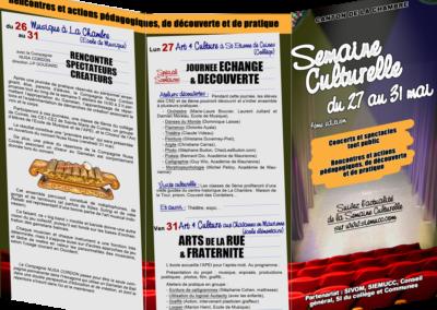 Ecole de Musique du canton de La Chambre, dépliant semaine culturelle (recto)